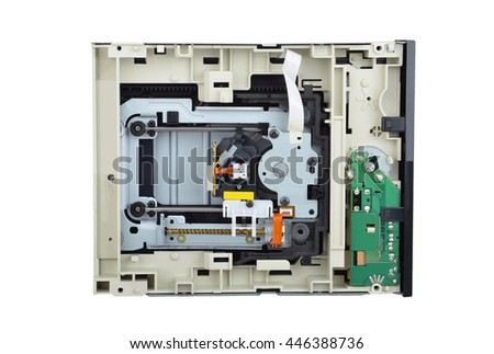 Detailed view of the inside of DVD disk drive (cd-rom) - stock photo