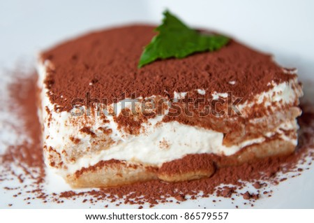 Detailed view of tiramisu cake on a white background.