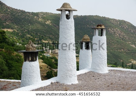 Detailed view of traditional chimneys in Capileira, Alpujarra, Granada province, Andalusia, Spain - stock photo