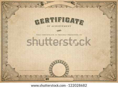 Detailed vintage certificate template guilloche border stock detailed vintage certificate template with guilloche border and seal yelopaper Images