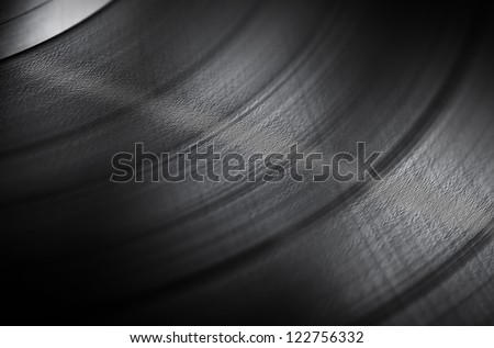 Detailed vinyl LP close up background with shallow depth of field - stock photo
