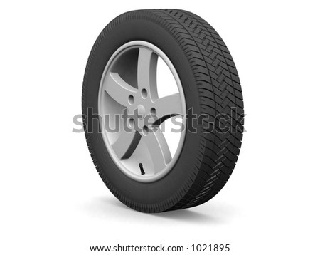 Detailed wheel and tire (3d render)