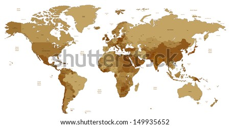 Detailed World map of brown sepia colors. Raster version. - stock photo