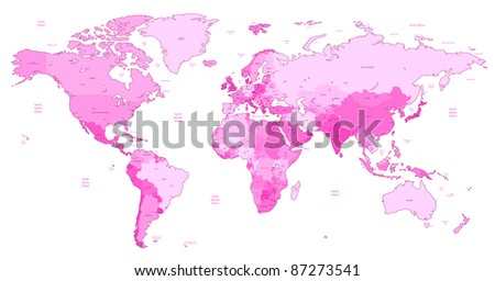 Detailed World map of pink colors. Raster version. Vector version is also available. - stock photo