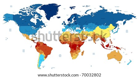 Detailed World map of red, blue, yellow colors. Raster version. Vector version is also available. - stock photo
