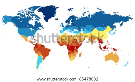 Detailed world map with countries. Colored in various colors: from red on equator to deep blue near poles. Raster version. Vector version is also available.