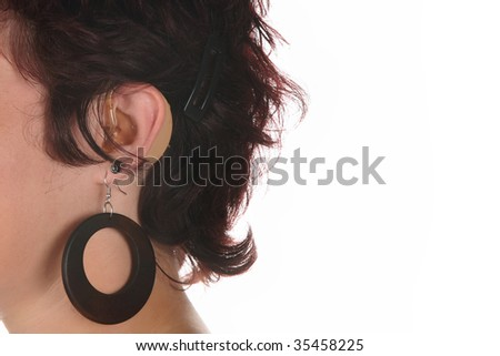 Details close up shot of Hearing Aid - stock photo