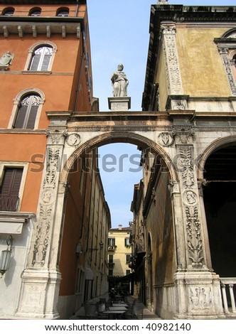 Details facade in Verona, Italy - stock photo