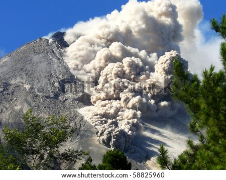 Details hot cloud of volcanic eruption in Java  island, Indonesia - stock photo