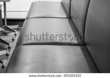 details - leather furniture, Black & white - stock photo