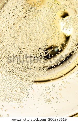 Details of a champagne glass from above