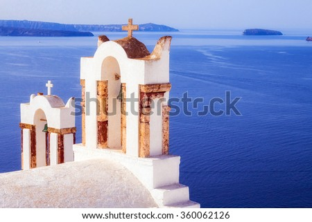 Details of a church in Oia village, Santorini, Greece