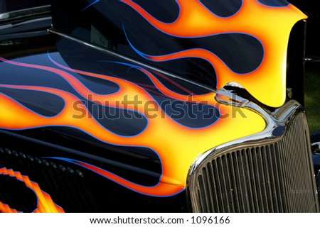Details of a customized vehicle on display at a car show. - stock photo