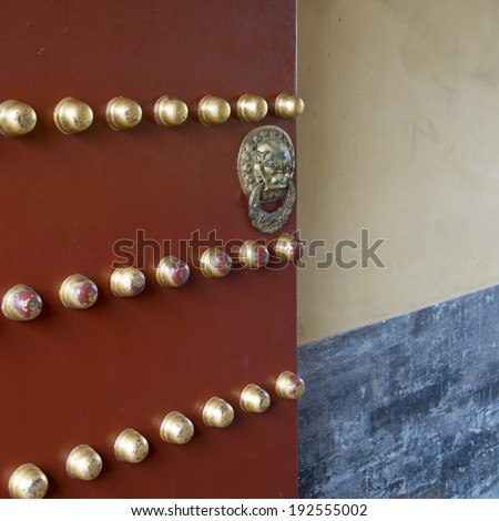 Details of a gate, Imperial Vault Of Heaven, Temple Of Heaven, Dongcheng, Beijing, China - stock photo