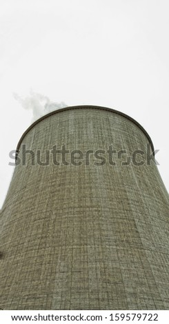 Details of a huge cooling towers of a power plant - stock photo