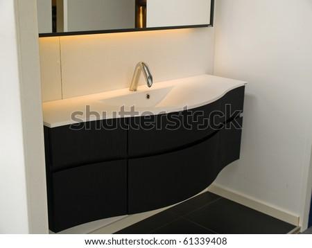Details of a modern trendy contemporary designer bathroom - stock photo