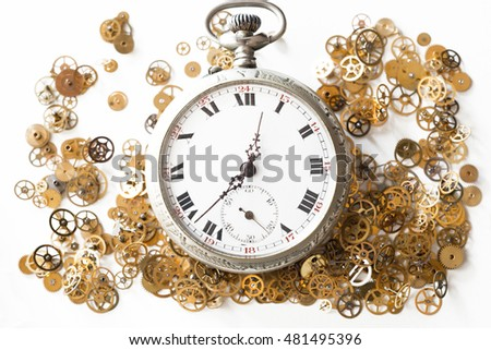 Details of a pocket watch from various angles