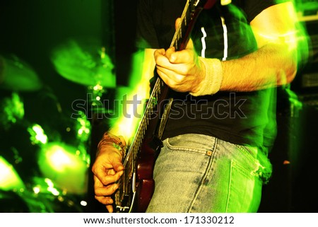 Details of a rockgig. Motioneffect! - stock photo