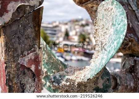 Details of a Rusty boat propeller - stock photo