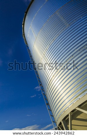 Details of a steel grain bin used in the agricultural industry. - stock photo