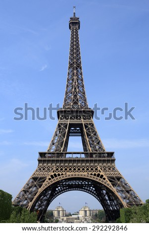 Details of a view of the Eiffel Tower at Paris with Trocadero.