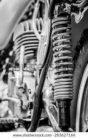 Details of a vintage off-road motorbike - stock photo