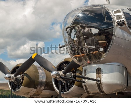 Details of a World War II B17 Bomber's Propellers and Guns - stock photo