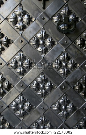 Details of an ancient iron gate - stock photo
