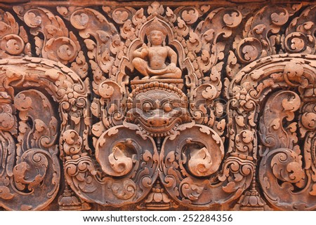 Details of Bantey Srei temple, Angkor city, Cambodia - stock photo