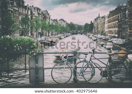 details of beautiful Amsterdam, Netherlands (vintage photo) - stock photo
