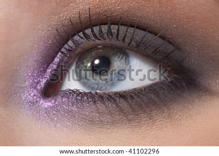 Details of beauty. Beautiful female eye in a fashionable make-up - stock photo