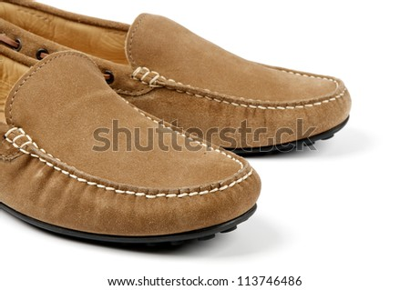 Details of Beige Chamois Leather Men's Shoes isolated on white background - stock photo
