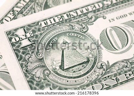 Details of bills in one American dollar - stock photo