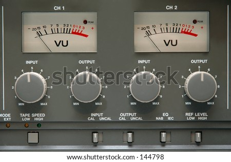 Details of buttons on an analog reel to reel machine - stock photo