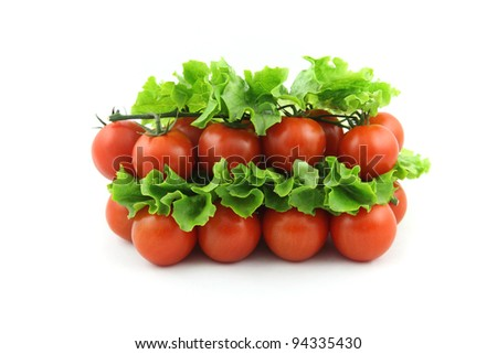 details of cherry tomato isolated on white