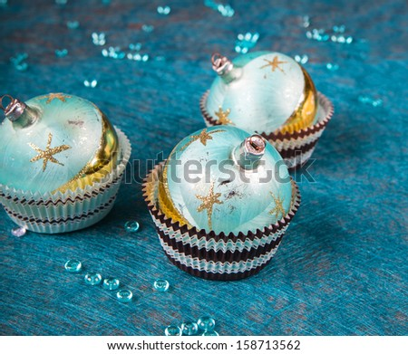 Details of Christmas decoration of table for dinner. - stock photo
