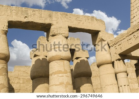 Details of columns in the Temple of Karnac, Luxor. Egypt. - stock photo