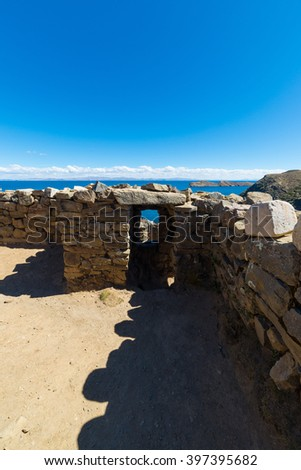 Details of consecutive doors ancient Inca labyrinth like settlement, called Chinkana, on the Island of the Sun, Titicaca Lake, among the most scenic travel destination in Bolivia. - stock photo