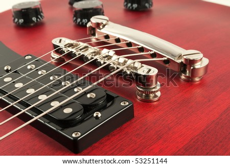 details of electric guitar - stock photo