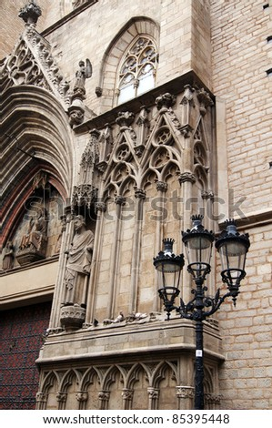 Details of facade of main Cathedral of Barcelona in Old Town