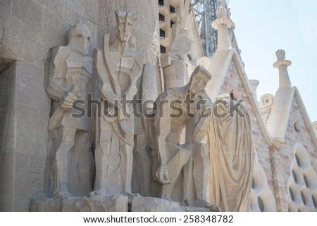 Details of facade of Sagrada Familia, Barcelona, Spain - stock photo
