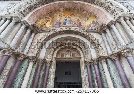 Details of facade, San Marco Basilica in Venice, Italy - stock photo