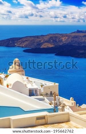 Details of Fira architecture with a view of the caldera in the background - stock photo
