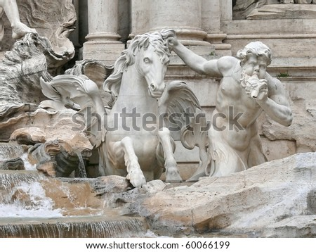 details of Fontana di Trevi. Rome. Italy. More of this motif & more Rome & sculptures in my port. - stock photo