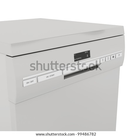 Details of front panel on dishwasher