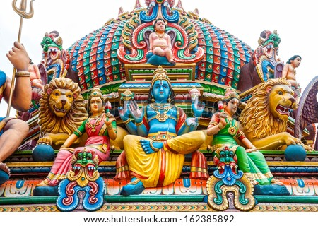 Details of Hindu Temple in Singapore. - stock photo