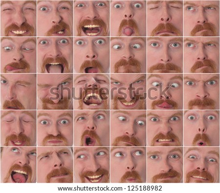Details of large facial expressions in closeup - stock photo