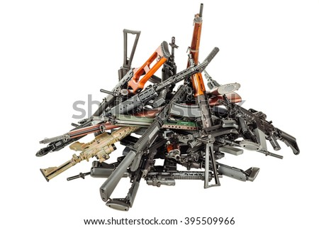 Details of many  confiscated modern rifles supplied smuggled. detained party of illegal weapons. war, army, police, weapon, technology concept - stock photo