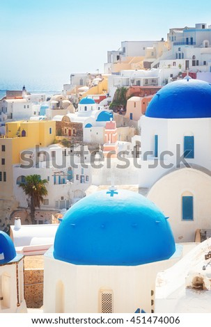 details of Oia, traditional greek village of Santorini, Greece, toned - stock photo