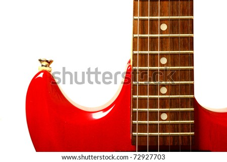 Details of red electric modern rock guitar - stock photo